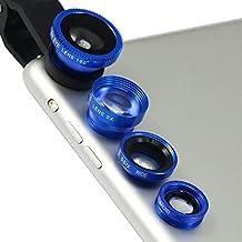 First2savvv JTSJ-4N1-A03 - Pack de lentes para HTC Desire Eye (ojo de pez, gran angular, macro y barlow, incluye paño de limpieza), azul