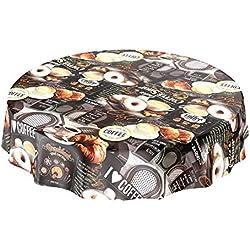 Toile cirée Toile cirée nappe lavable Café Beignets Croissant ronde 100cm, Toile cirée, Mehrfarbig, Rund 140cm