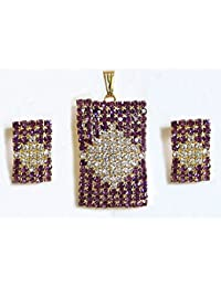 DollsofIndia Purple And White Stone Studded Rectangle Pendant And Earrings - Stone And Metal (AS70-mod) - Purple