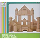 QiChuang USA Kids Natural Wooden Blocks Table Top Games (80 Piece)