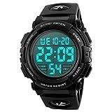 Skmei Herren Armbanduhr, digital, Sport, Militär, große Zahlen, wasserdicht, mit Alarm/Timer, LED-Hintergrundbeleuchtung, für
