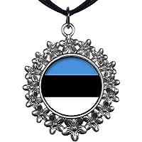 Giftjewelryshop stile antico argento piastra Estonia Bandiera