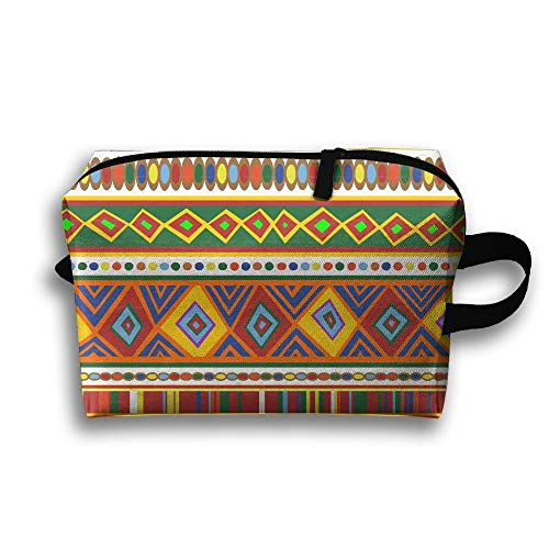Colorful African Geometric Seamless Portable Travel Makeup Bag,Storage Bag Portable Ladies Travel Square Cosmetic Bag