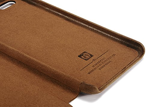 Luxus Tasche für Apple iPhone 6S und 6 (4.7 Zoll) / Case Außenseite aus echtem Leder / Hüllen-Innenseite aus Textil / Schutz-Hülle seitlich aufklappbar / ultra-slim / Cover mit Kartenfächern / Farbe:  Hellbraun