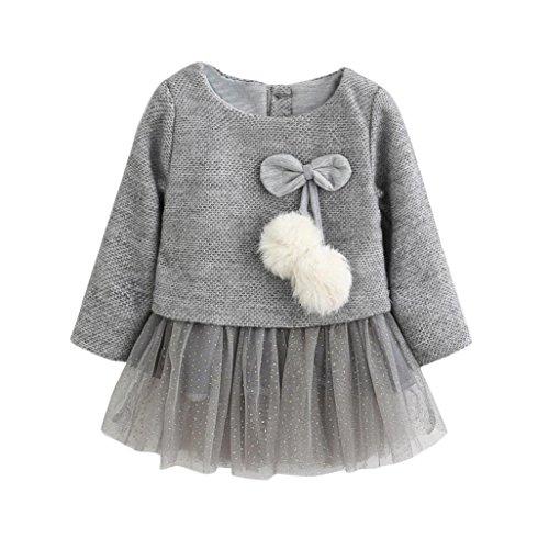 Bekleidung Longra Kleinkind Baby Kind Mädchen lange Ärmel gestrickt Bogen Prinzessin Kleid Neugeborenen Tutu Kleid (0-24Monate) (70CM 0-6Monate, Gray) (Bogen Blazer)