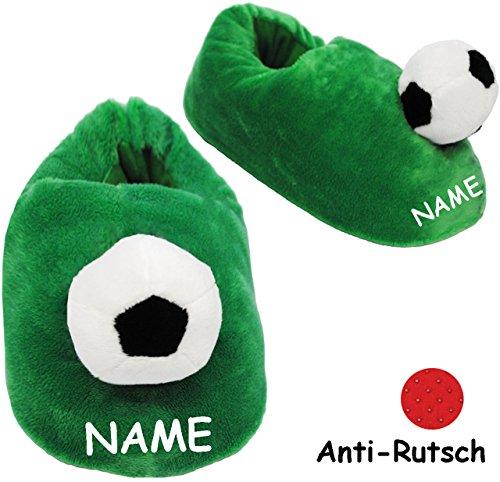alles-meine.de GmbH Hausschuhe / Pantoffel -  Fussball  - incl. Name - Größe Gr. 29 - 30 - 31 - 32 - 33 - 34 - 35 __ schön warm __ Plüschhausschuh / grün - für Kinder & Erwachs..