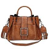 Dragon868 Damentasche Elegant Retro Vintage Tasche Leder Kleine Schultertasche mit Umhängetasche Handtasche (Braun)