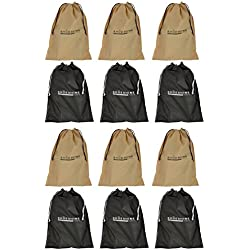 Shoeshine India Black & Beige Fabric Shoe Bag (Set Of 12 Bags)