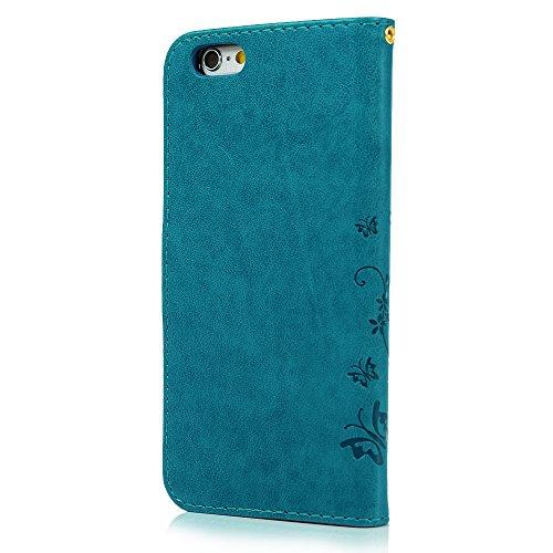 iPhone 6 / 6S Hülle (4,7 Zoll) Wallet Case Flip Hülle YOKIRIN Schmetterling Blumen Muster Schutzhülle PU Leder Brieftasche Ledertasche im Bookstyle für iPhone 6 6S Tasche Rosa Blau