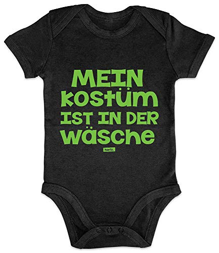 HARIZ Baby Body Kurzarm Mein Kostüm Ist In Der Wäsche Karneval Kostüm Plus Geschenkkarte Pinguin Schwarz 3-6 Monate