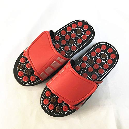 Yetta Home Granos giratorios de Primavera Masas de púas Zapatillas Giratorias Punto de chisme Zapatos de Masaje para la Salud Grandes (Color : Red, Size : 42/43)