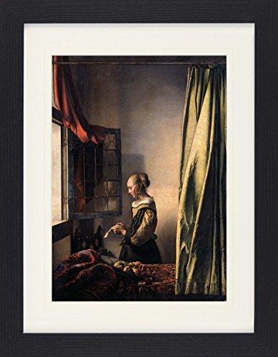 1art1 114371 Johannes Vermeer - Brieflesendes Mädchen Am Offenen Fenster, 1657–1659 Gerahmtes Poster Für Fans Und Sammler 40 x 30 cm