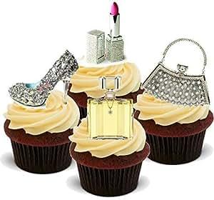 Strass en forme de fleurs pour sac à main, chaussures, Maquillage Glamour-cupcakes comestibles en support de 12 décorations de gâteaux en Papier de riz comestible pour gâteaux - 2 x 12 images A5