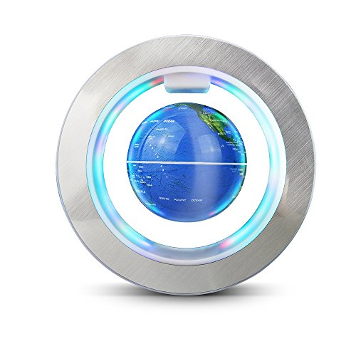 Globo flotante de levitación magnética gira del mapa del mundo para decoraciòn en oficina y casa Azul - 6 pulgadas anillo