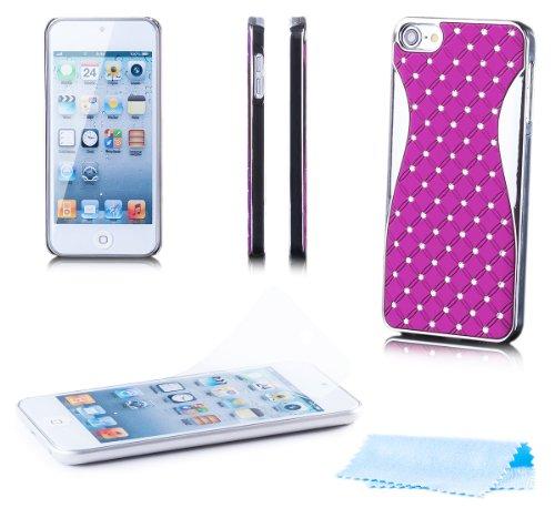 Apple iPod Touch 5 / 5G | iCues Chrom Strass Case Lila | [Display Schutzfolie Inklusive] Strass Glitzer Glitter Luxus Bling Damen Frauen Mädchen Chrome Schutzhülle Hülle Cover Schutz (Case Glitter Touch 4 Ipod Lila)