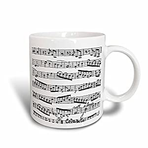 Mensuk mug_179702_1 Music Notes Pattern Black and White Piano Sheet Musical Notation Ceramic Mug, 11-Ounce
