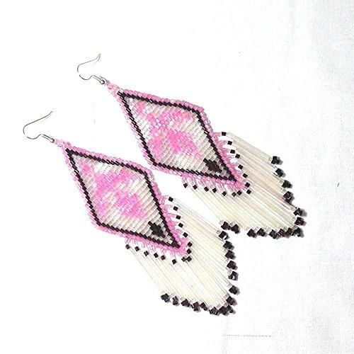 La Viva Pink Schwarz Silber Cut Rocailles Perlen Eagle Ohrringe Funky Sweet Modische Pretty Sleek Sassy Jewelry e-16-sb-9 (Silber 16 Schmuck Sweet)