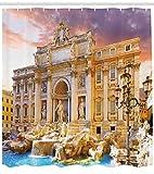 Abakuhaus Duschvorhang, Berühmtes Italienisches Trevi Brunnen der Liebe Sehenswürdigkeit in Rome Bild Digitales Druck, Wasser und Blickdicht aus Stoff mit 12 Ringen Schimmel Resistent, 175 X 200 cm