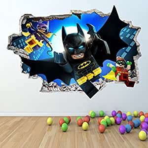 Lego batman wall sticker 3d look boys girls bedroom wall for Decoration chambre lego