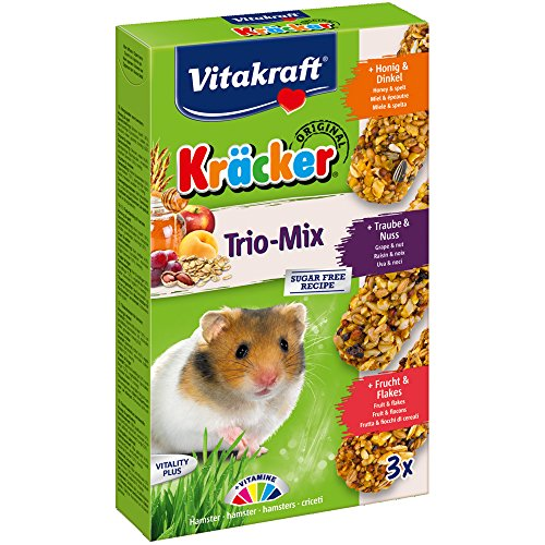 Vitakraft KRÄCKER Trio-Mix, knabber Barre pour Hamster à Base de Miel/Noix/Fruits, Lot de 5 (5 x 3 Barres)