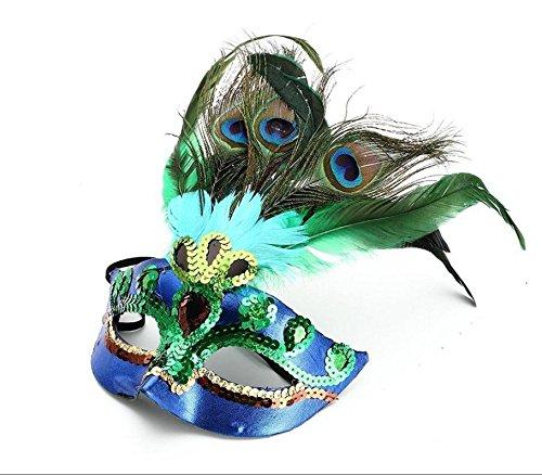 Maskenball Maske Feder (PriMI Pfauenfeder-Maske Maskenball Kostüm-Party Halloween Cosplay)