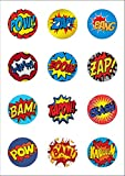 12 Large 50mm Circle Pow Zap Comic Book Style Retro Edible Wafer Paper Cake Toppers Decorations by Top That