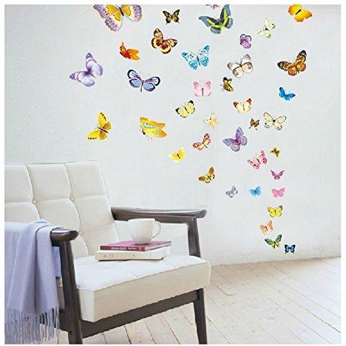 Weaeo Home Wohnzimmer Schlafzimmer TV Hintergrund Wand Kostenlose Aufkleber Tapete Selbstklebende Dekorative Malerei Schmetterling Abnehmbare Wandaufkleber