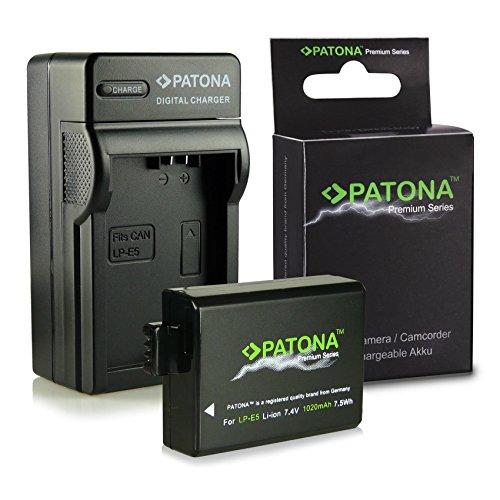 3in1 Caricabatteria + Premium Batteria LP-E5 LPE5 per Canon EOS 1000D | EOS 450D | EOS 500D | EOS Rebel T1i | EOS Rebel XS | EOS Rebel Xsi