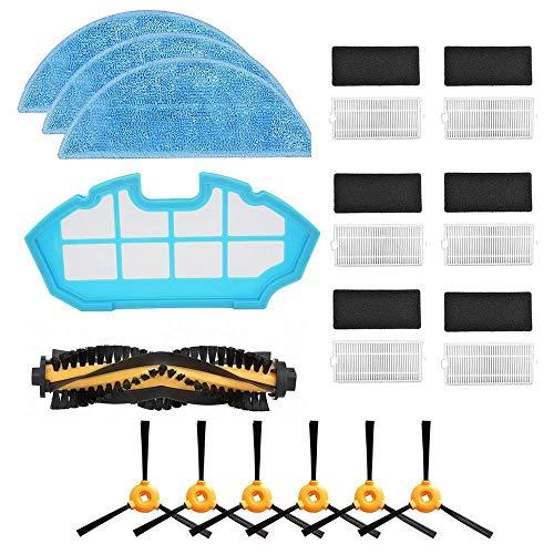 Timi- Reemplazo del Kit de Filtro y trapeador, 6 * Filtro + 6 * Cepillos Laterales + 3 * Limpiar + 1 * Cepillo Principal + 1 * Filtro primario, Aspirador Robot Compatible Cecotec Conga Excellence 990