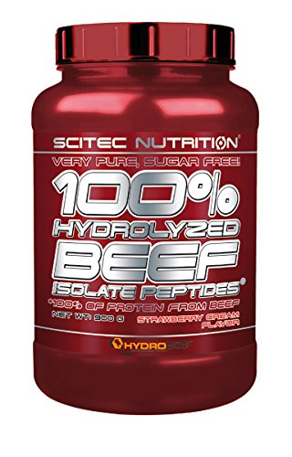 Scitec nutrition 100% hydrolyzed beef isolate peptides, 900 grammi, crema alla fragola