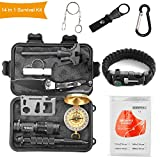Halcent Kit Supervivencia, 14 Piezas Kit Emergencia con Brujula Silbato Emergencia Mechero Rasqueta...