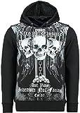 OXCID Herren Pullover - Kapuzenpullover - Hoody - Motiv Totenkopf - Kreuz - Cross Print (L, schwarz)