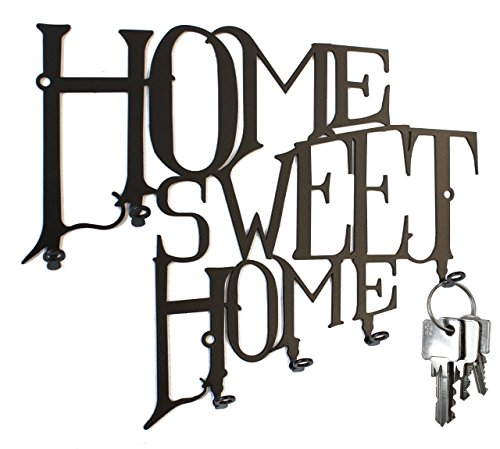 Schlüsselbrett / Hakenleiste - Home Sweet Home - Schlüsselboard, Schlüsselleiste - Metall 6 Haken ( schwarz )