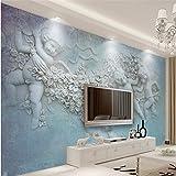 LHDLily 3D Tapete 3D Wallpaper Fresken Wandbilder Verdicken Benutzerdefinierte Im Europäischen Stil Mit Kleinen Engel Amor Tv-Kulisse 200Cmx150Cm