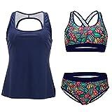 FeelinGirl Tankini Retro Bikini Sportliche Swimwear Bademode Monokini Badeanzug Damen Bauchweg (S(EU 32), Brilliantblau)