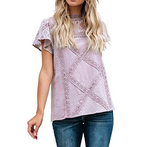 TITIU Damen Spitze Patchwork Flare Rüschen Kurzarm Cute Floral Shirt Bluse Top Oberteil(Violett,4XL)