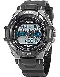 Reloj Digtal de hombre de Cuarzo, Correa de Goma negra, Alarma, Luz, calendario, Multifunción, Deportivo OHS151