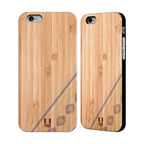 Head Case Designs Sarcelle Empreintes En Bois Tribales Étui Coque En Bois De Bambou Pour Apple iPhone 5 / 5s / SE Jaune