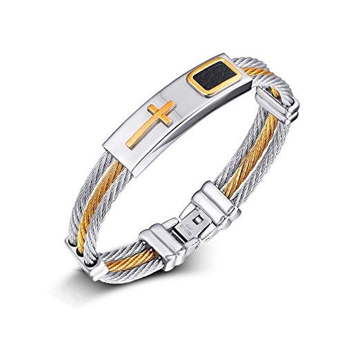 joielavie Schmuck Armband Armreif MULTILAYER Verdrehte Kabel Kreuz Kruzifix Dreifarbige Leder Edelstahl Cool Biker Armband Hand Seil Geschenk für Herren