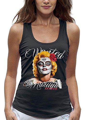 PIXEL EVOLUTION Camiseta sin Mangas Wanted Marilyn Mujer - tamaño L - Negro