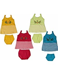 FEEL TRENDY Cotton Embroidery Special Frock for Born Baby Girls(Months)(Pack of 4)+1 Orange Colour Free