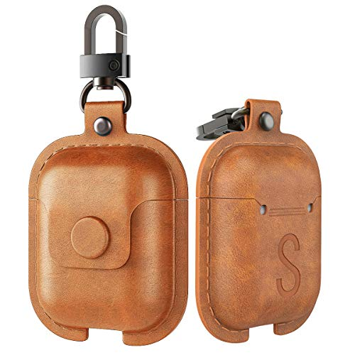 MoKo Case Fit AirPods 1/AirPods 2, Premium Leather Vintage Style Snap Closure Protective Cover Carrying Pouch Pocket with Keychain for Apple AirPods 1 & AirPods 2 Earphones Charging Case - Dark Brown -