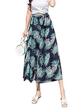 Pantalones de pierna ancha floral gasa de mujer, Bohemia suelta protector solar casual impreso Culottes
