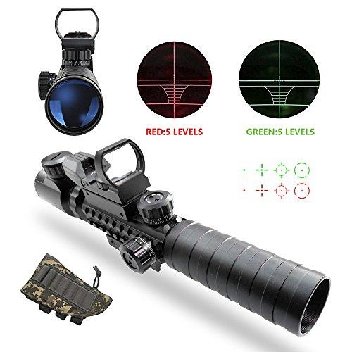 Taktische Zielfernrohre, UMsky Gewehrzielfernrohre Luftgewehr Scopes Beleuchtet 3-9x32EG 3 in 1 Jagd 4 Holographische Reticle Rote und grüne Dot Sight für 22mm Weaver / Picatinny Rail Mount (Scope A)