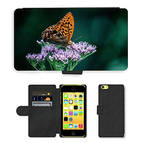 Just Mobile pour Hot Style Téléphone portable étui portefeuille en cuir PU avec fente pour carte//m00139232papillon Insectes Fleur Nature//Apple iPhone 5C