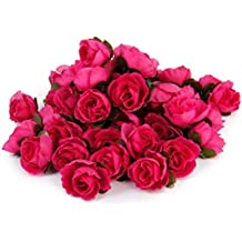 50pcs 3cm Artificiales Cabezas de Flores Rosas de Tela para La Boda Fiesta (Rojo rosa)