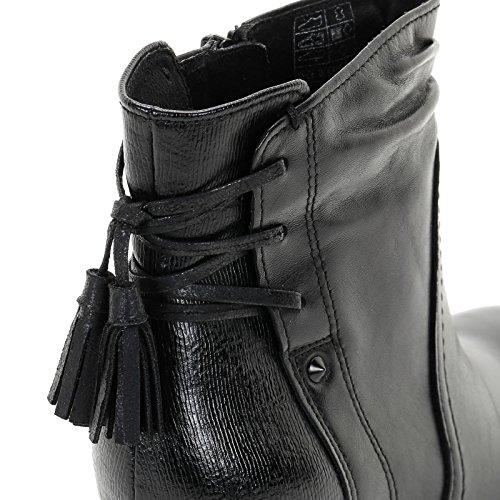 ALESYA by Scarpe&Scarpe - Bottines hautes avec pompons et bi-matière, en Cuir, à Talons 8 cm Noir