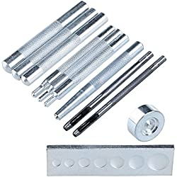 Malayas® Kit de 11 Herramientas de Remachar para Instalar Remache Botones de Presión Herramientas de Punzón Botador en Cuero