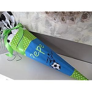 Fussball Kicker Fussballer türkis-grün Schultüte Stoff + Papprohling + als Kissen verwendbar
