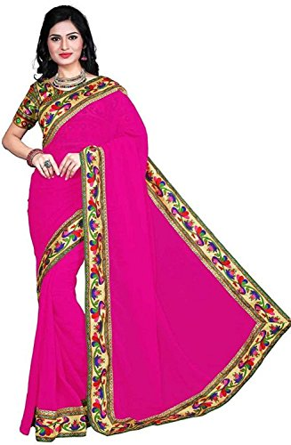 Sarees(Online Hub Womens Clothing Saree For Women Latest New Disigner Georgette Latest Saree With Designer Blouse Free Size Beautyful Bollywood Saree For Women Party Wear Sarres(Pink Peacock les With Peacock Blouse )  available at amazon for Rs.499